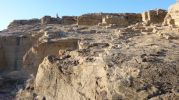 Rocas de la antigua cantera de marés en Racó d'es moro en Formentera