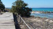 Plataforma de madera que cruza las tres playas paralela a la costa