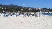 playa con muchas hamacas y sombrillas