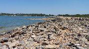muchas rocas y prácticamente no hay arena